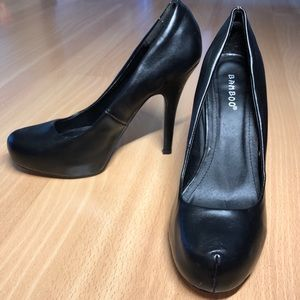 Bamboo black high heel pumps